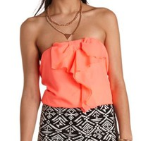 Cropped Bow-Front Tube Top by Charlotte Russe - Neon Coral