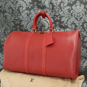 Rise-on LOUIS VUITTON EPI KEEPALL 45 RED Travel Bag #14