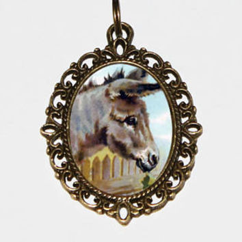 Donkey Necklace, Farm, Animal Jewelry, Bronze Oval Pendant, Gift For Animal Lover