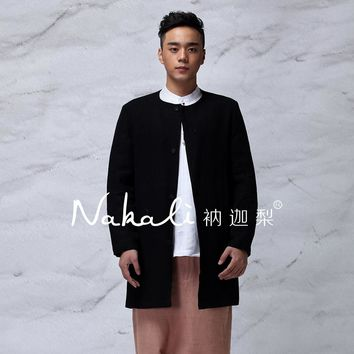 Mens Trench Coat Long Jacket Chinese Japanese Style 100% Linen Black Winter Autumn Nakali 2016 New