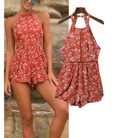 Casual Pants Summer Sleeveless Print Hollow Out Backless Shorts Women's Fashion Jumpsuit [11629962383]