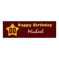 ANY YEAR Birthday Star Banner Custom Name V02 Poster