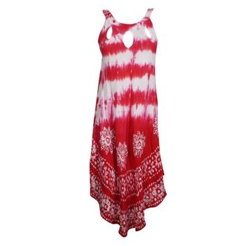 Mogul Womens Tie Dye Batik Embroidered Tank Dress Sleeveless Summer Fashion Flared Sexy Red Boho Style Sundress - Walmart.com