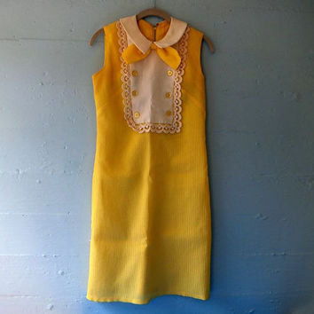 Vintage 1960s Yellow A-Line Dress / Mod / Mid Century Mini Skirt / Hippie / Beatnik