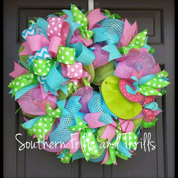 Spring Deco Mesh Wreath, Spring Wreath, Bird Wreath, Funky Bow Wreath, Spring Decor, Deco Mesh Wreath, Spring Door Hanger, Wreath