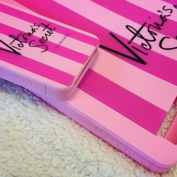 New Victoria Pink Stripe Silicon Cover Case Secret Shell For iPhone 6/6S/7 Plus