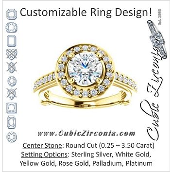Cubic Zirconia Engagement Ring- The Sally (Customizable Halo-Round Cut Design with Round Side Knuckle and Pavé Band Accents)