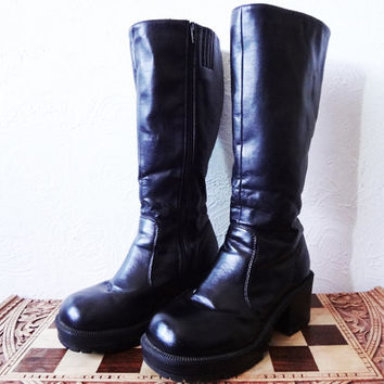 Vintage Tall Vegan Leather Chunky Boots zip up - size 8 -