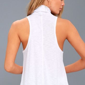 Topanga White Sleeveless Turtleneck Top