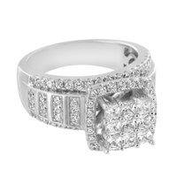 Sterling Silver Solitaire Iced Out Princess Cut Lab Diamonds Wedding Ring Band