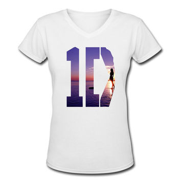 One Direction V-neck shirt Women Logo 8 Tee 1D Shirt Pop Rock  Women V-neck T Shirt