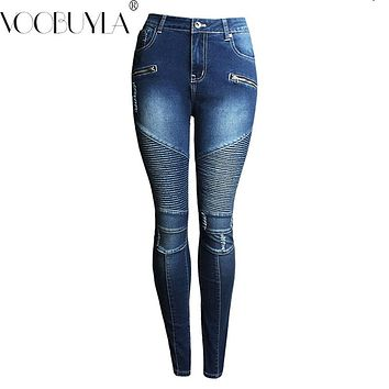 Voobuyla Skinny Biker Jeans Women Hi-Street Ripped Rider Denim Jeans Motorcycle Runway Slim Fit Washed Moto Denim Pants Joggers