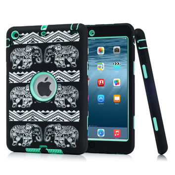 Laser Carving Elephants For iPad mini 1/2/3 Retina Kids Safe Shockproof Heavy Duty Case Cover w/Screen Protector Film+Stylus Pen