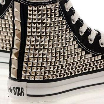 DCCKHD9 Studded Converse Silver Pyramid studs with converse Black high top / Oneside Studded