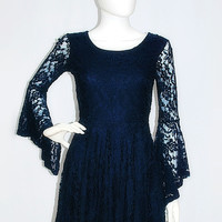 Stars Aligned Navy Lace Bell Sleeve Dress