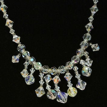 Vintage Crystal Choker Bib Necklace AB Aurora Borealis Rhinestone Crystals 1950s Mid Century Hollywood Wedding Bridal Bride Formal Evening