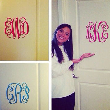 Monogram Wall Decal Medium- Girls Bedroom - College Dorm - Door Decal- Mirror Decal - Gift - 30+ Colors - FREE SHIPPING