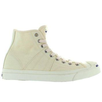 CREYUG7 Converse Jack Purcell Johnny Hi - Natural/Navy Canvas High Top Sneaker