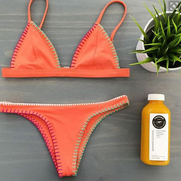 Retro Orange swimwear Set Swimsuit Beach Bathing Suits Summer Gift 217