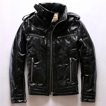 Winter warm classic sheep leather down jacket sheepskin genuine leather mens suede outerwear