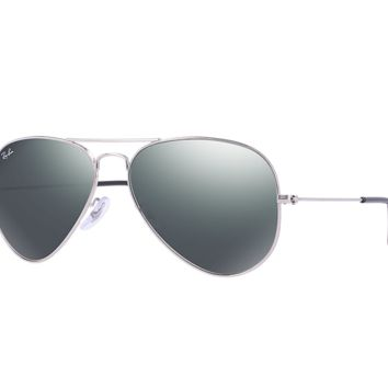 Cheap Ray Ban Aviator Sunglasses Silver Frame/Crystal Grey Mirror Lens outlet