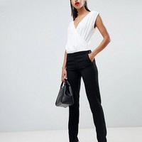 Morgan wrap top contrast jumpsuit at asos.com