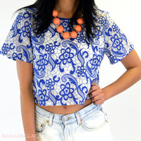 Bloomsbury Blue Embroidered Flower Top