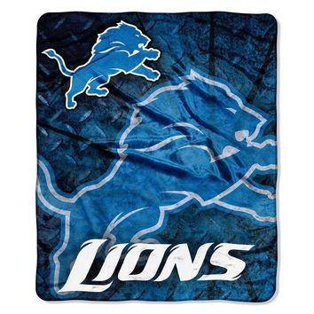 Detroit Lions NFL Royal Plush Raschel Blanket (Roll Out Series) (50in x 60in)