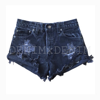Women's Distressed Black Cali Trendy Cut-Off Shorts High Waisted Low Rise Grunge Ripped Shredded Boho Levi Wrangler Gap Vintage Denim Jeans