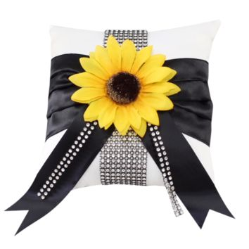 wedding Ring bearer Pillow-Silver Black Sunflower