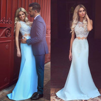 Two Piece Lace Satin Mermaid Prom Dresses