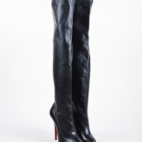HCXX Black Christian Louboutin Leather   Sempre Monica 120   Thigh High Boots