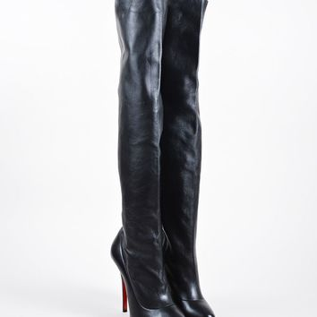 KUYOU Black Christian Louboutin Leather  Sempre Monica 120  Thigh High Boots