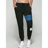 Letter Striped Applique Sporty Jogger Pants
