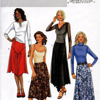 Butterick 4026 Sewing Pattern Loose Fit Flared Skirt Handkerchief Hem Pointed Waist Uncut FF Plus Size 12 14 16 Waist 26 to 30