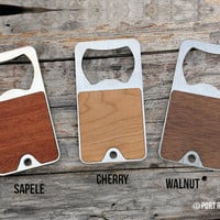 Keychain Bottle Opener - Walnut faced Stainless Steel Key Fob  - Beer Wood Keyring Ring Chain