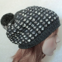Hand Knitted Women Hat in Dark Grey and Ecru Color,Winter Pom Pom Hat,Handmade Chunky Hat,Hand Knit Beret,Wool Warm Hat,Knit Women Accessory