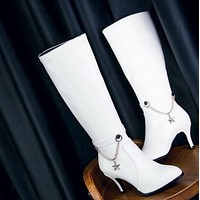 New super high heel thin with patent leather pointed high boots shoes