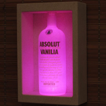 Absolut Vanilia Vodka Shadowbox Sconce Color Changing Liquor Bottle Lamp Bar Light  LED Remote Controlled Eco Friendly LED