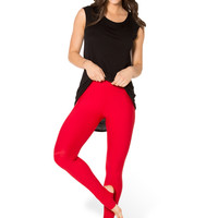 Matte Red Stirrup Leggings