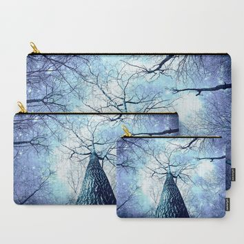 Wintry Trees Periwinkle Ice Blue Space Carry-All Pouch by 2sweet4words Designs