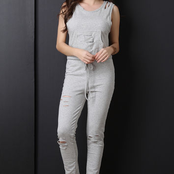 Casual French Terry Distressed Jumpsuit