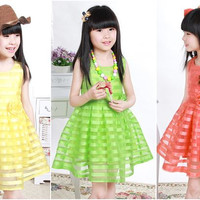 Girls Summer Bright Lace Dress