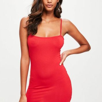Missguided - Red Square Neck Strappy Bodycon Mini