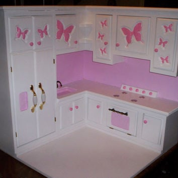 Kitchen Made For American Girl Size Doll Furniture Stove,refigerator,sink  All In One