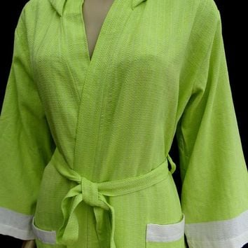 Pistachio green colour little herringbone patterned soft Turkish cotton hooded cool summer bathrobe, dressing gown.