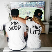 Stylish Hot Sale Alphabet Print Couple Women's Fashion T-shirts [6461438273]