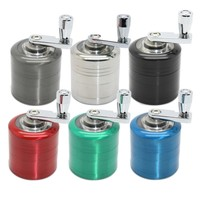 YKPuiiSpices Grinding 4 Layers Herb Tobacco Spice Weeds Grass Aluminium Grinder Smoke Crusher Hand Crank  Mill Pollinator Smokin