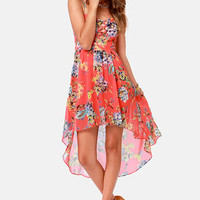 Twist and Sprout High-Low Floral Print Dress