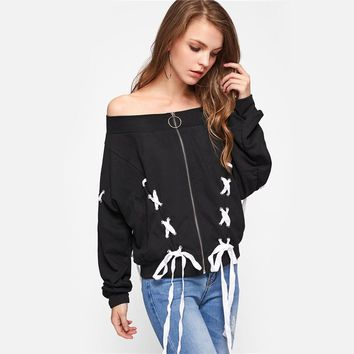 Lace Up Jacket Sexy Women Jackets and Coats Black Off the Shoulder Casual Zipper Fall Jackets